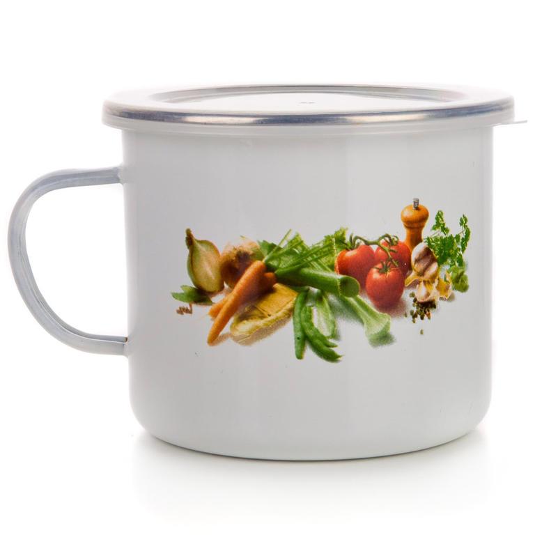 Smaltovaný hrnek zelenina, BANQUET 0,5 l - 3