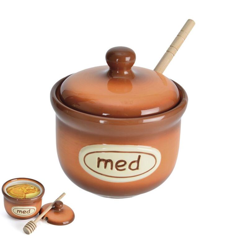 Keramická dóza na med hnědá - 3