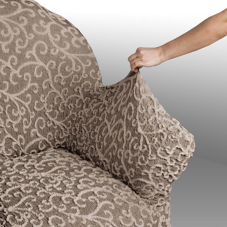Bielastické potahy 3D ARABESCO hnědé rohová sedačka (š. 350 - 530 cm) - 3
