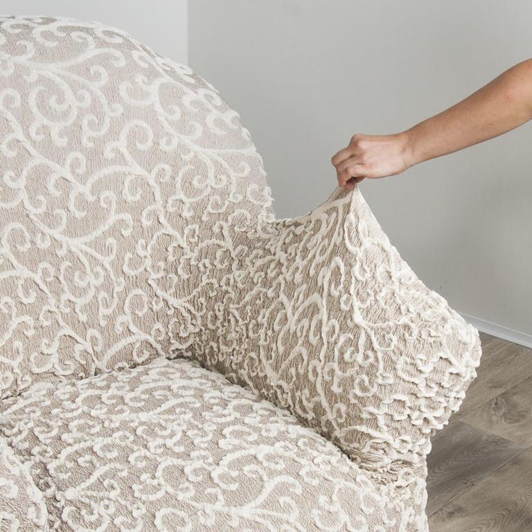 Bielastické potahy 3D ARABESCO béžové rohová sedačka (š. 350 - 530 cm) - 3