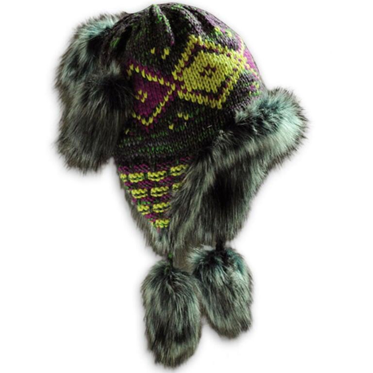 Dámská zimní čepice s kožešinou fialová - 3