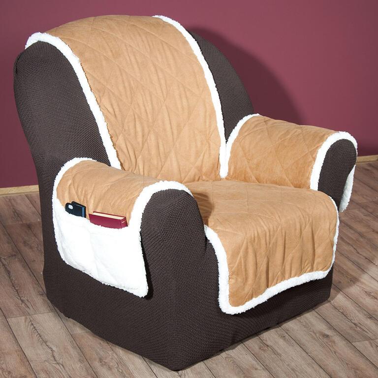 Oboustranný prošívaný přehoz na sedačku semiš - SHERPA hnědý  - 3