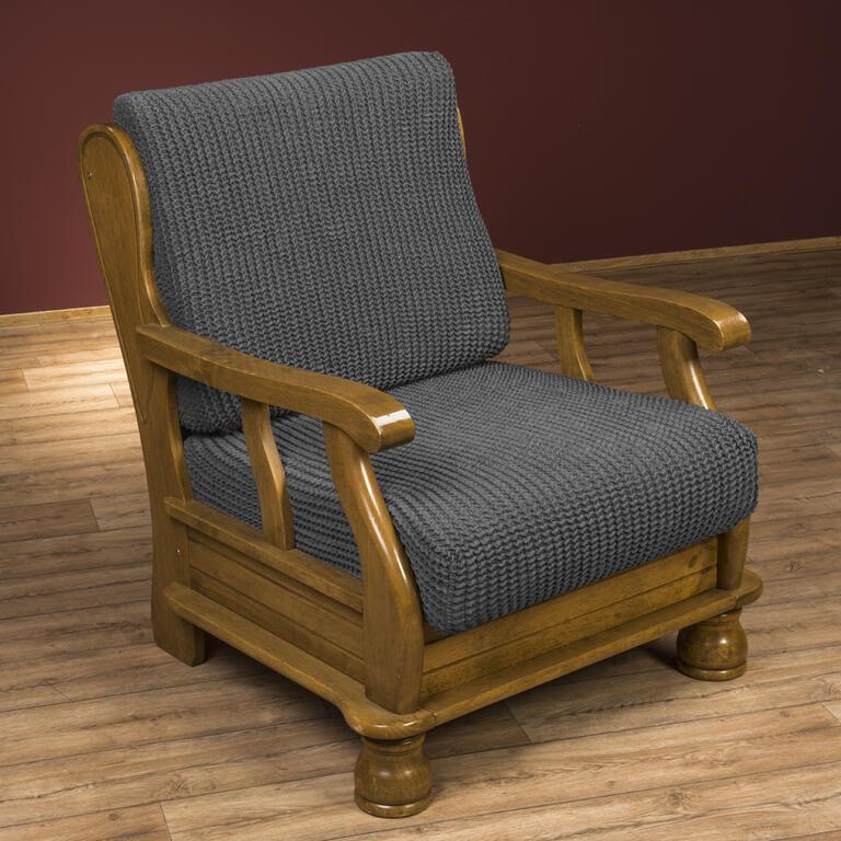 Super strečové potahy GLAMOUR šedé židle s opěradlem 2 ks 40 x 40 x 60 cm - 3