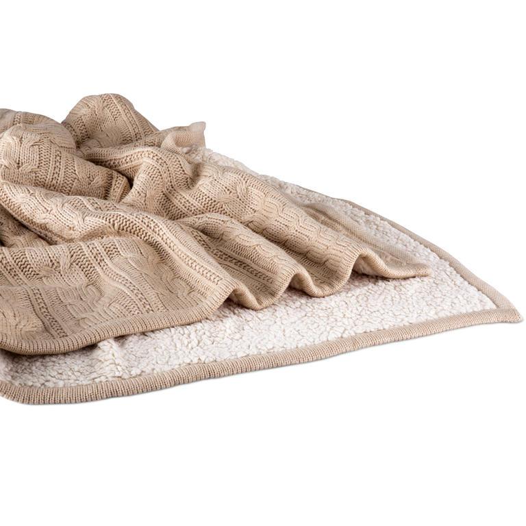 Pletená deka s beránkem béžová  - 3