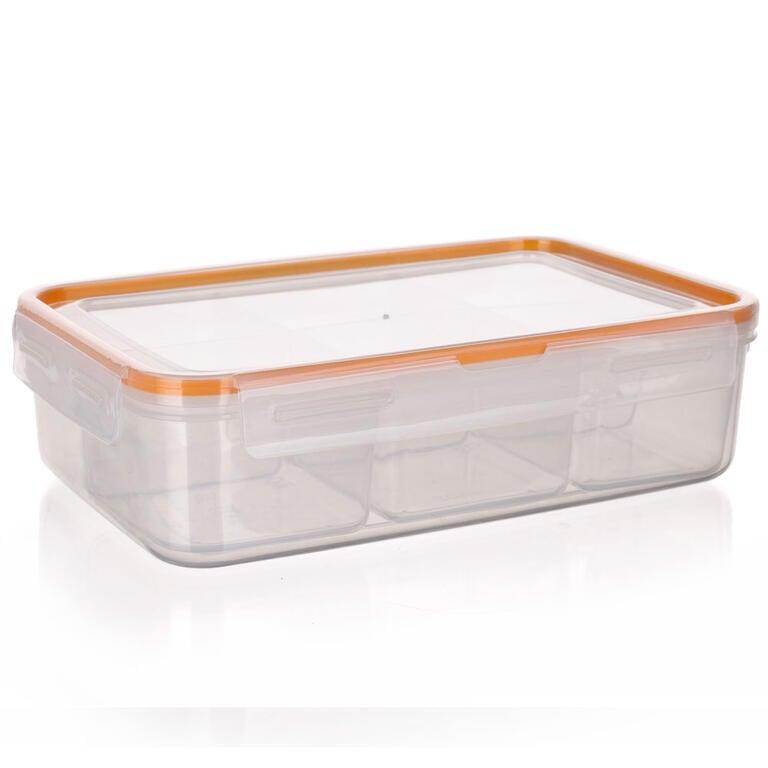Obdélníková dóza na potraviny Super Click oranžová, BANQUET 2,1 l - 6