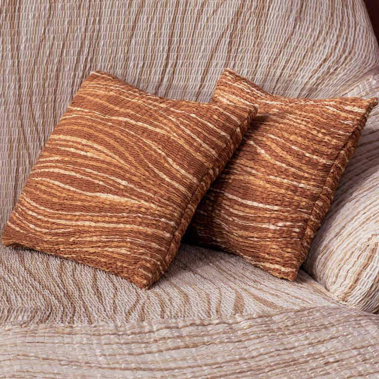 Bielastické potahy UNIVERSO žíhané cihlové rohová sedačka (š. 350 - 530 cm) - 6
