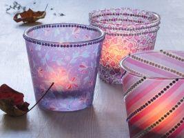 Pozimní svícny ze sklenic